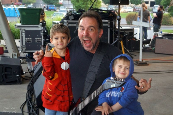 Photo taken with my two sons before a performance.