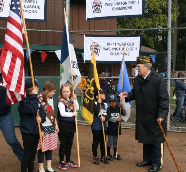 "Organizing Girl Scouts Color Guard for ""Presentation of the Colors"" at Pacific Little League Day, Lynndale Park, Lynnwood"