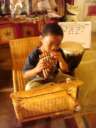 Caden , One of my students in African Drumming and percussions.