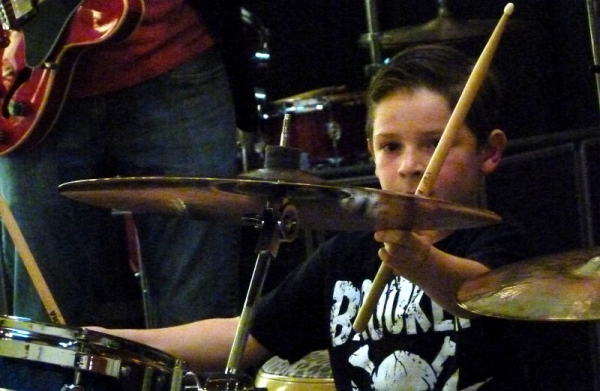 "Damian catching the crash-hits on the intro to ""eye of the tiger""! at Recital #2, May 2015."